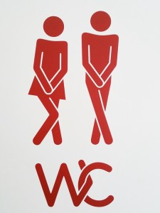 sign depicting need for toilet