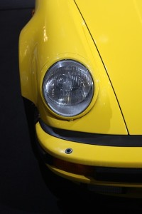 headlight on yellow car