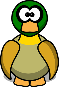 graphic of duck with crossed eyes