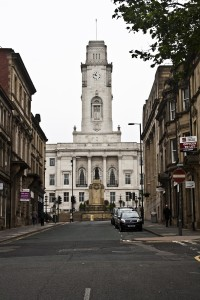 Barnsley Town Hall, a town in the UK