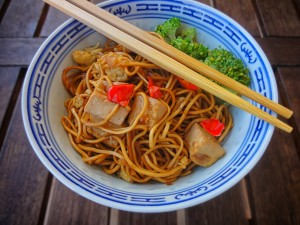 chopsticks and bowl with food